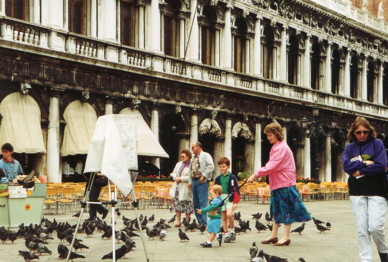 Chasing pigeons in Piazza San Marco, Venice, 1991