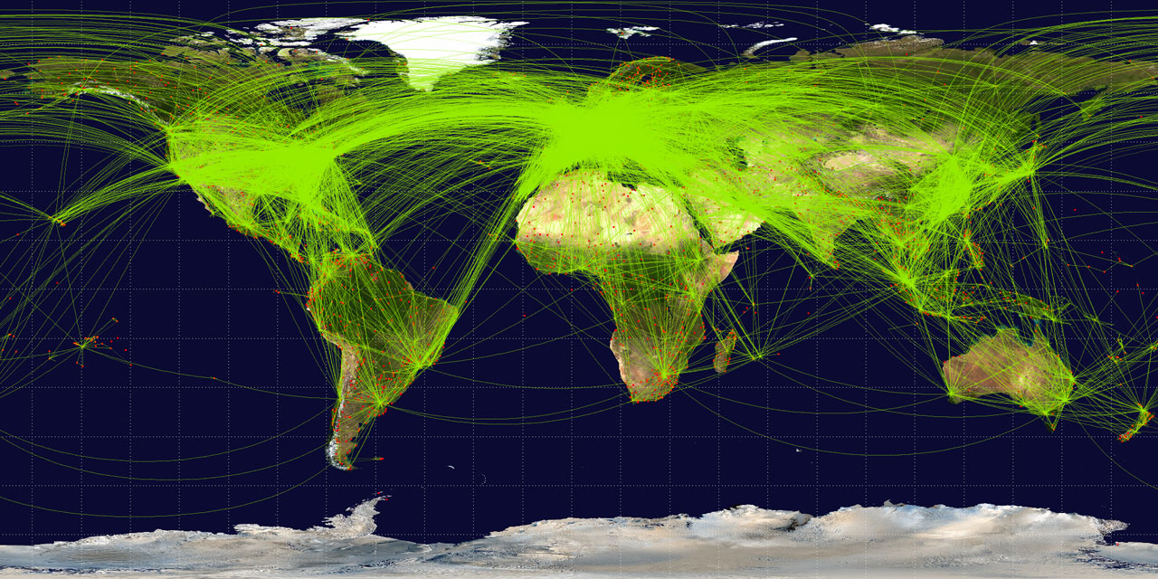 Scheduled airline traffic in 2009 - Map by Jpatokal