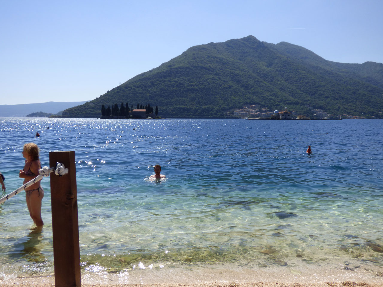 The beach at Perast, Montenegro