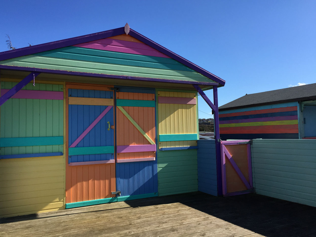 Colourful beach huts in Whitstable, Kent
