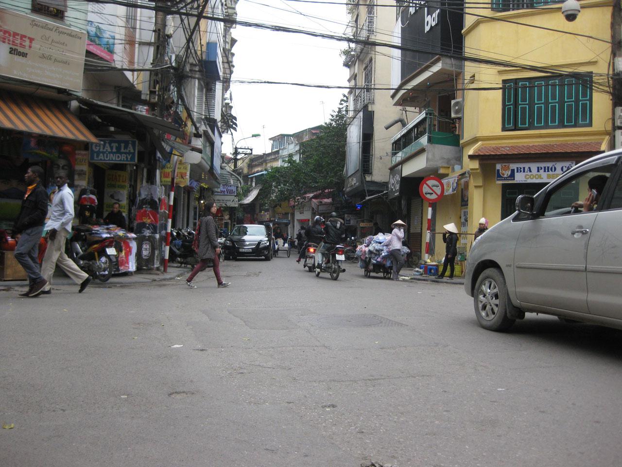 Bia hoi corner in Hanoi's Old Quarter, Vietnam