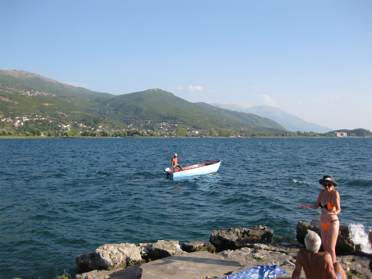Our captain sails off into the distance, Lake Ohrid, Macedonia