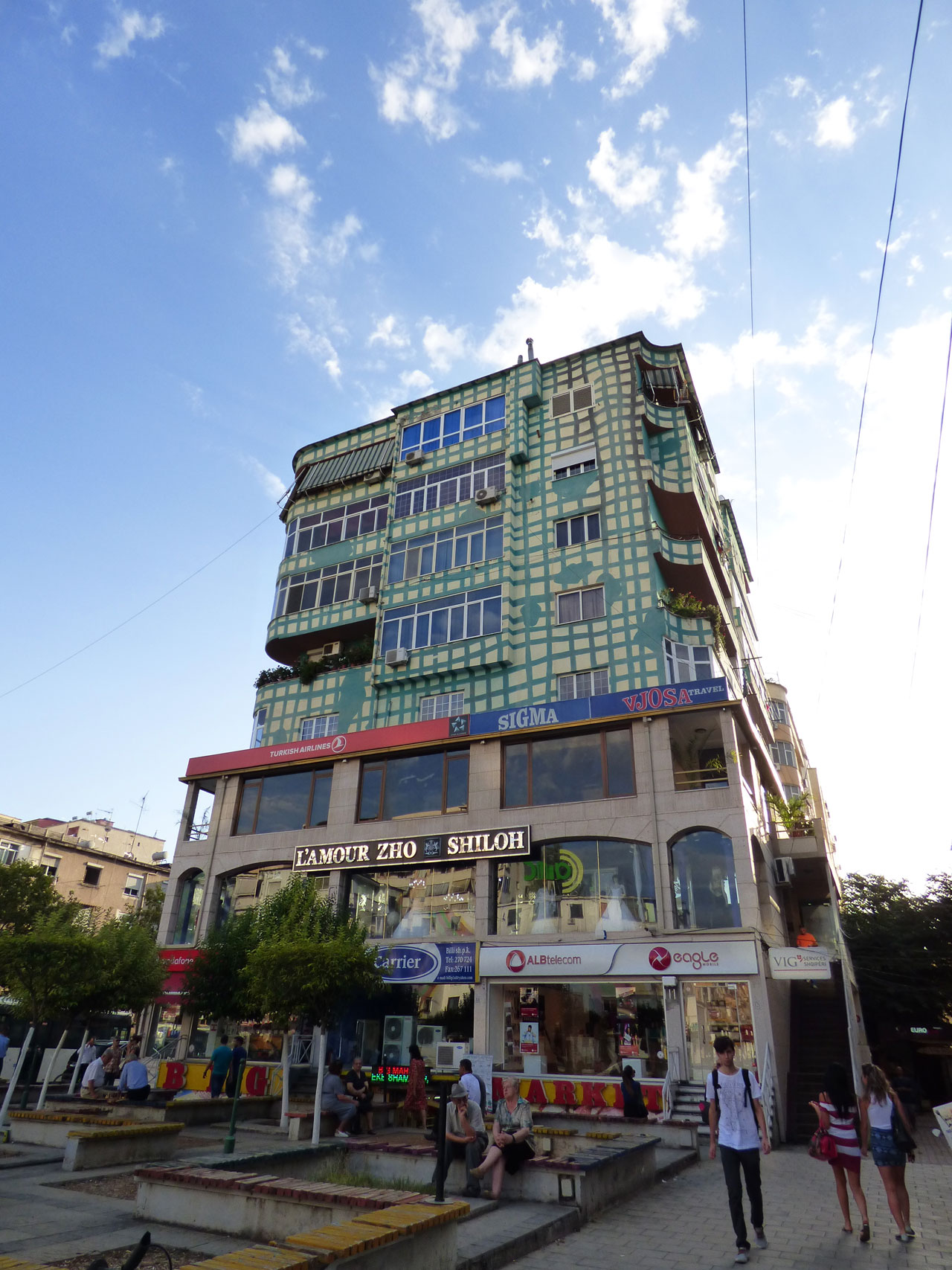 Brightly coloured building, Tirana, Albania