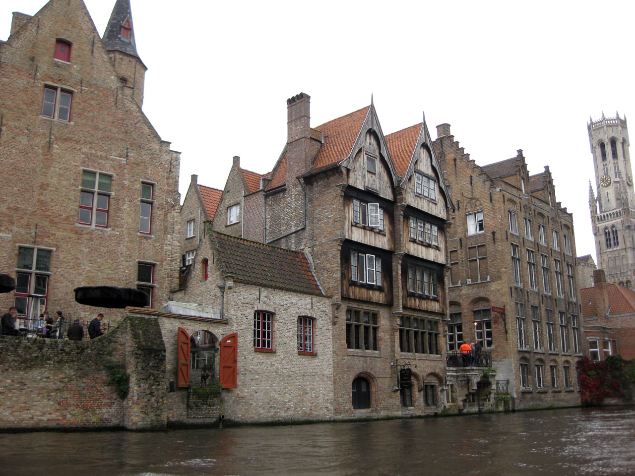 Canal side buildings in Bruges, Belgium