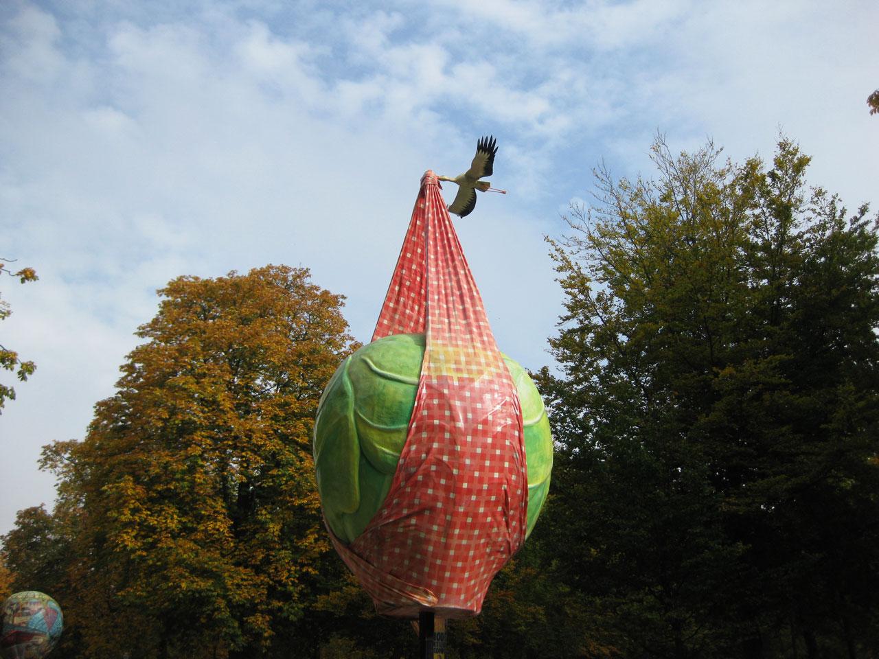 Brussels sprout sculpture, Parc de Bruxelles, Belgium