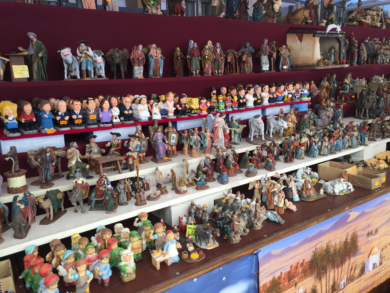 Caganers for sale at the Christmas market, Palma de Mallorca
