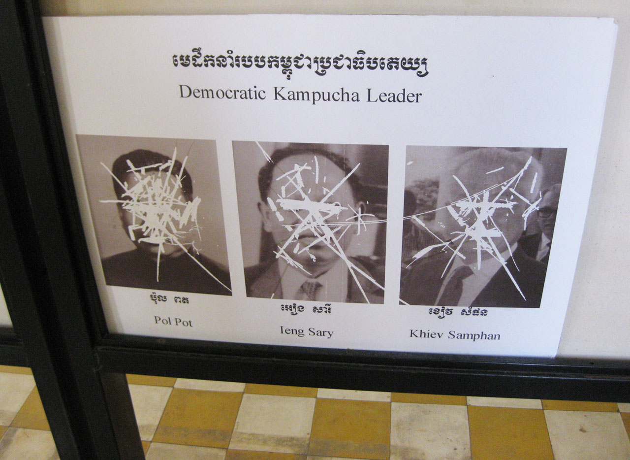 Defaced photos of Khmer Rouge leaders at Tuol Sleng, Phnom Penh