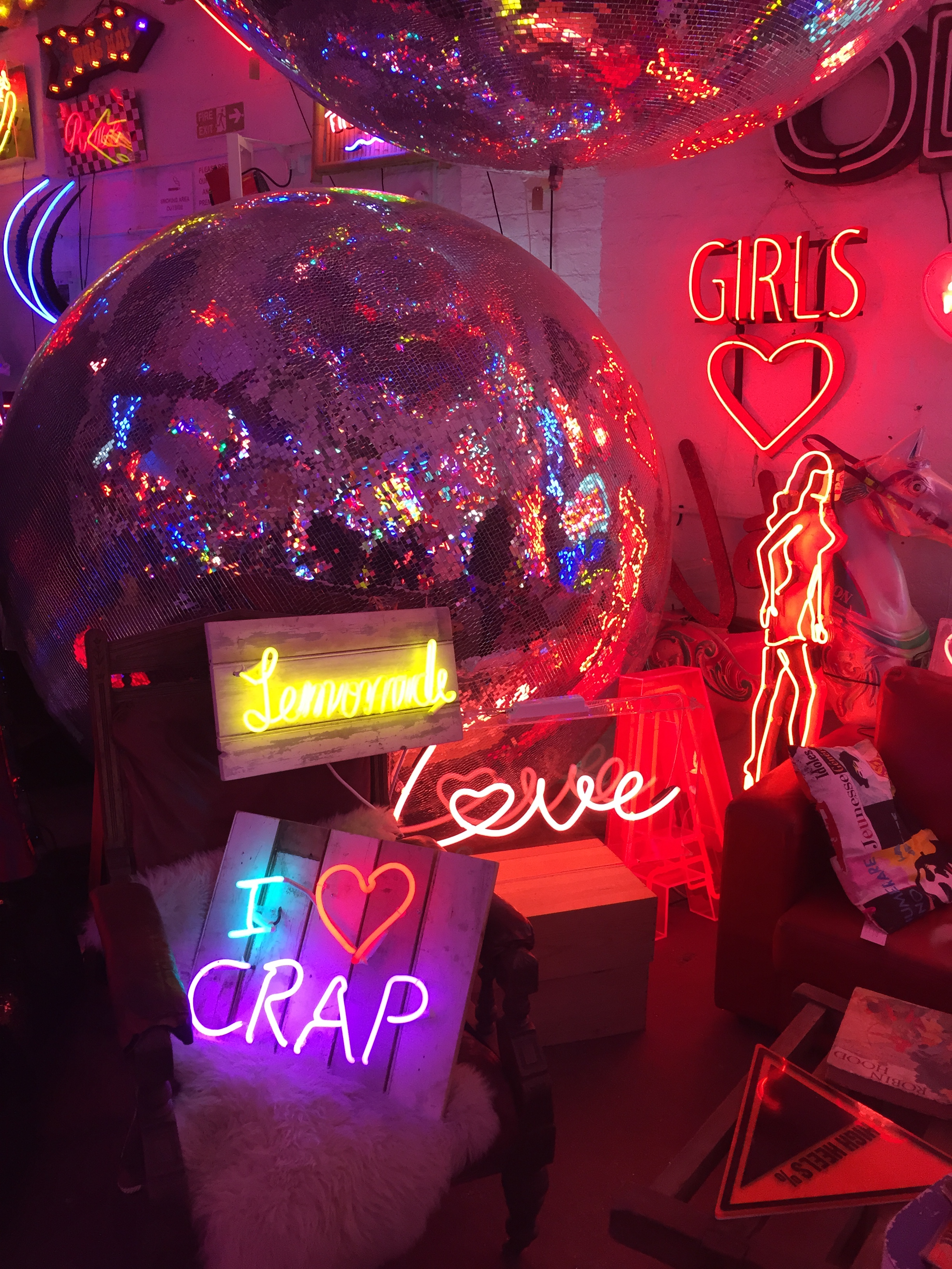 Disco balls and neon signs at God's Own Junkyard, Walthamstow, London
