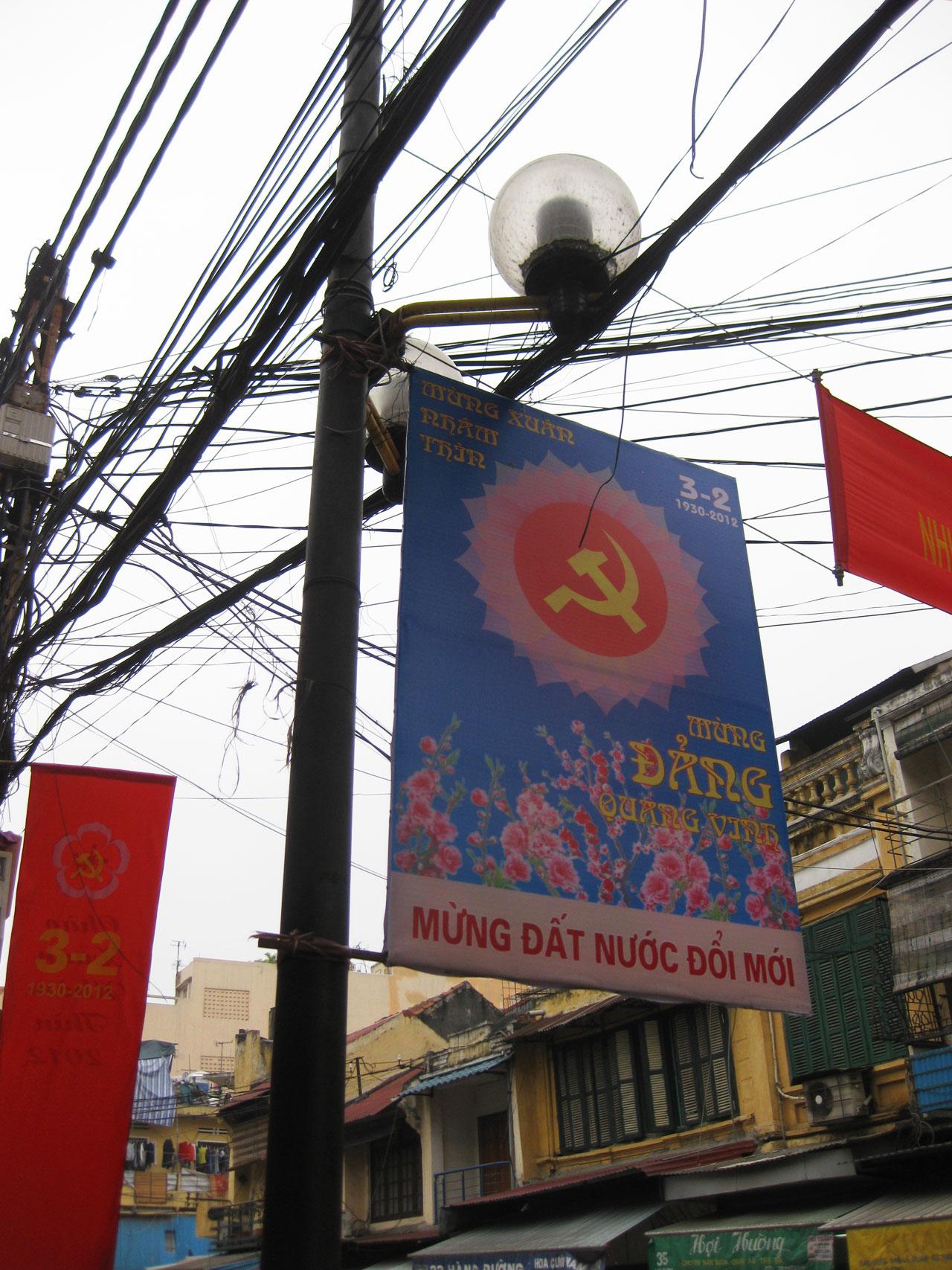 Dodgy wiring and communist propaganda in Hanoi's Old Quarter, Vietnam