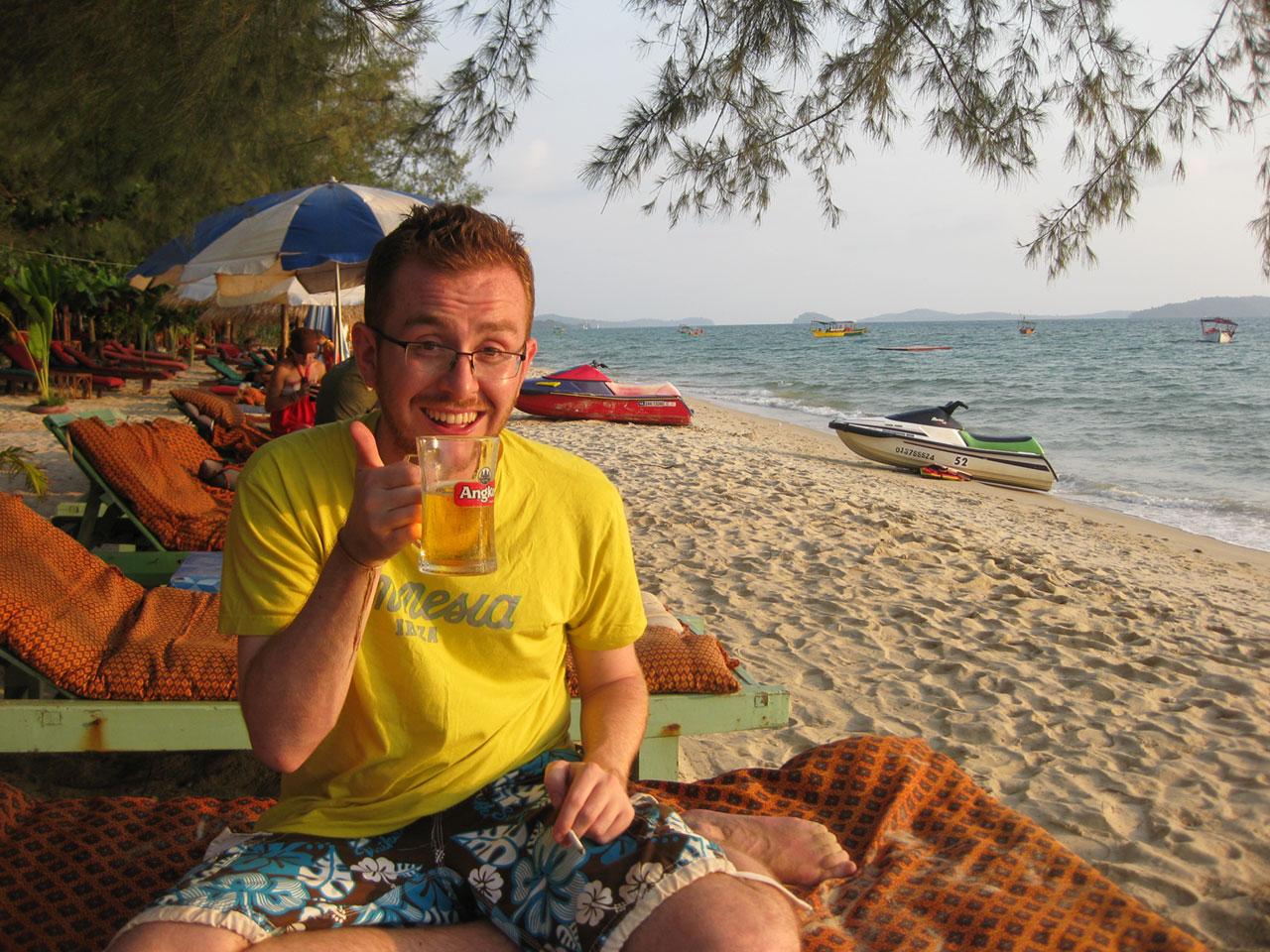 Enjoying a beer on Otres Beach, Sihanoukville, Cambodia