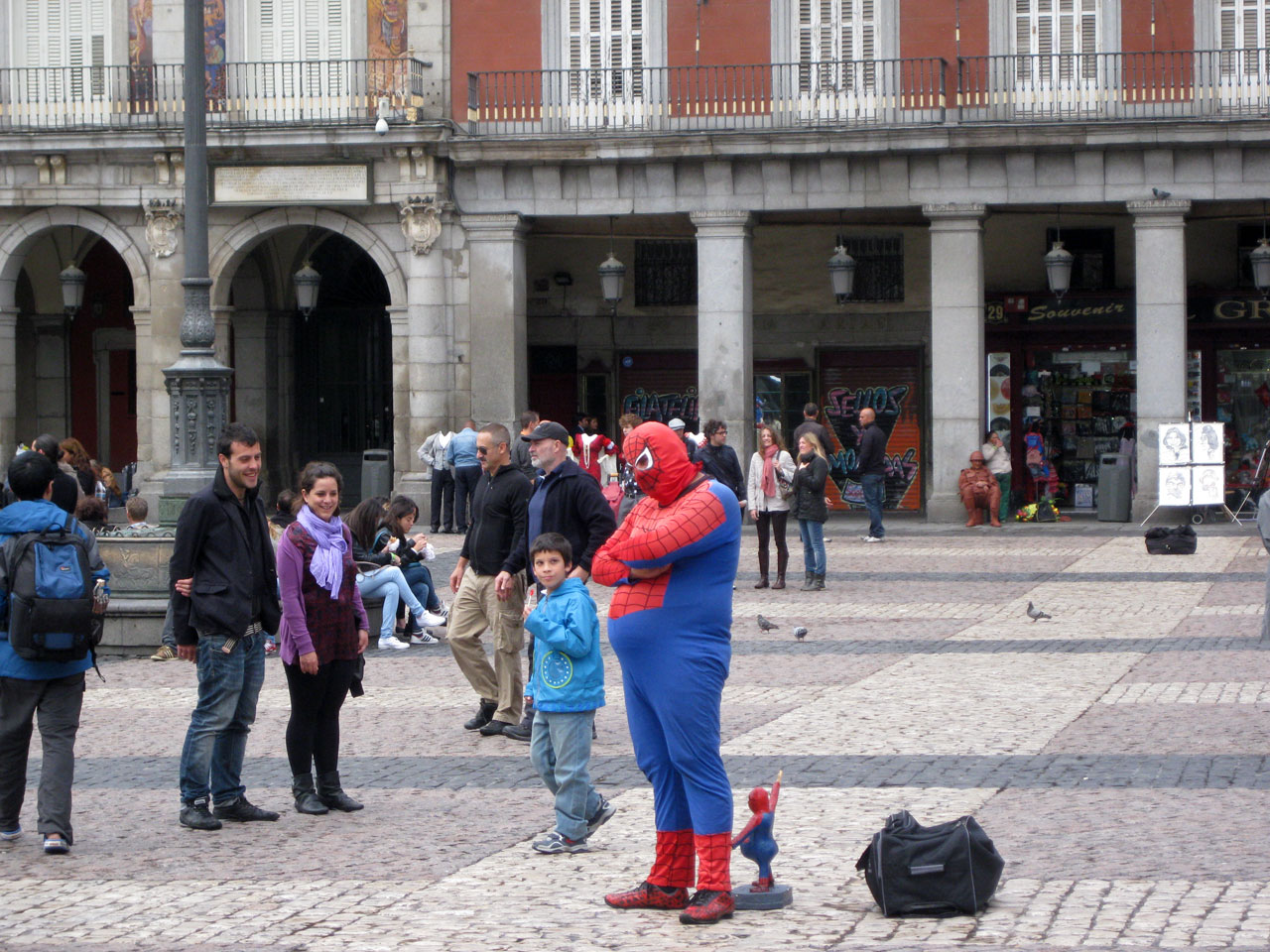 Fat Spiderman in the Plaza Mayor, Madrid