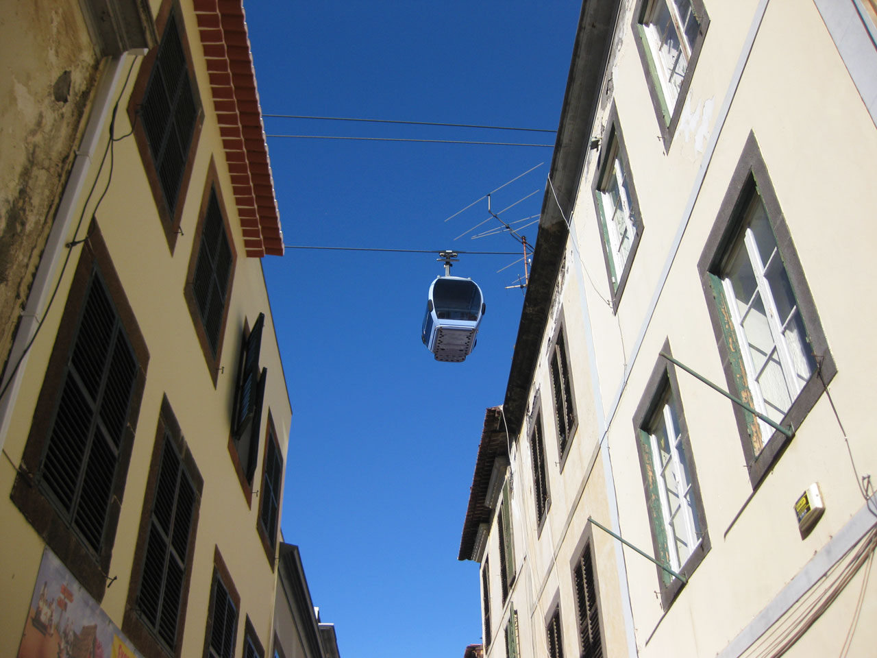 Cable car above the streets of the old town, Funchal, Madeira