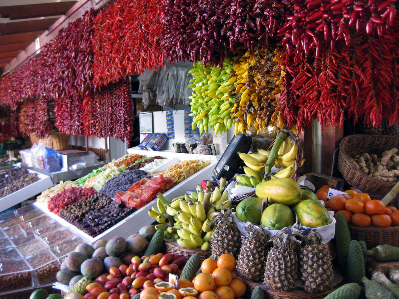Fresh produce on display at the Mercado dos Lavradores, Funchal