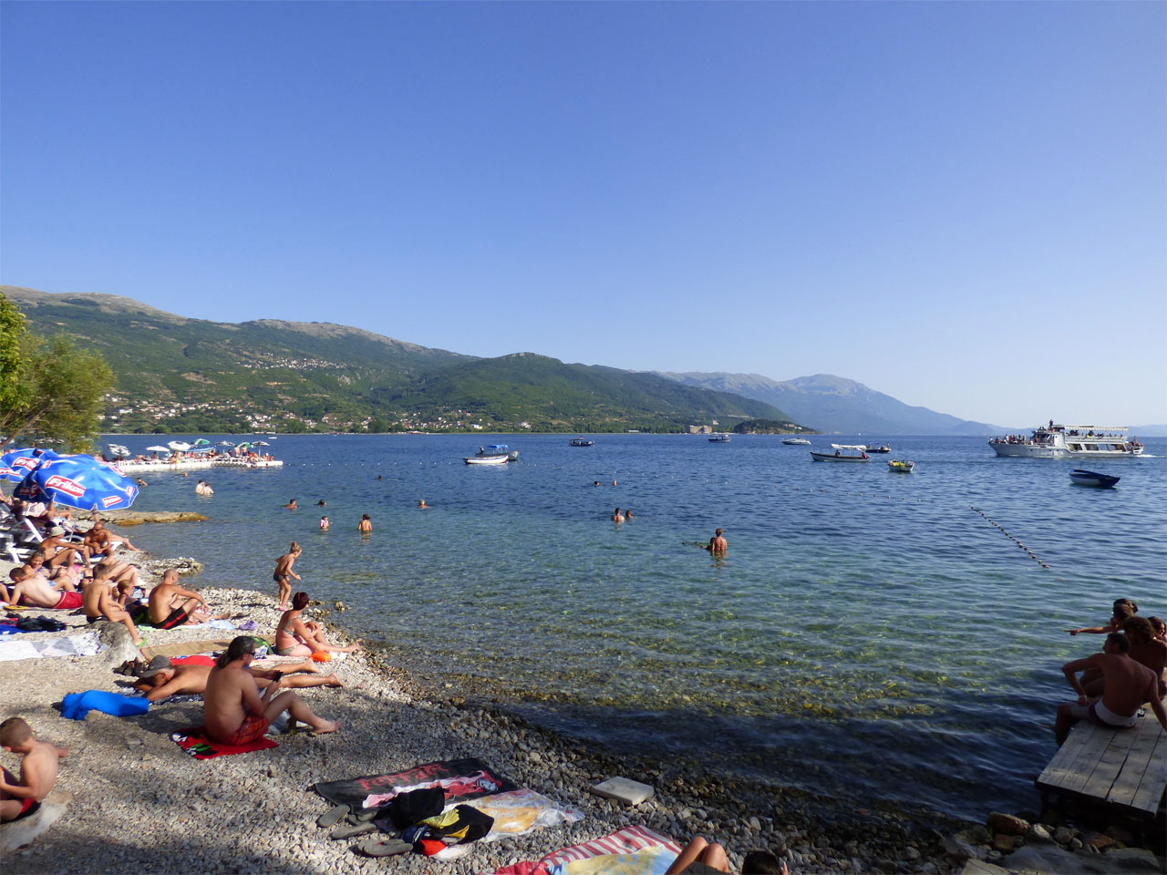 Beach on the shores of Lake Ohrid, Macedonia