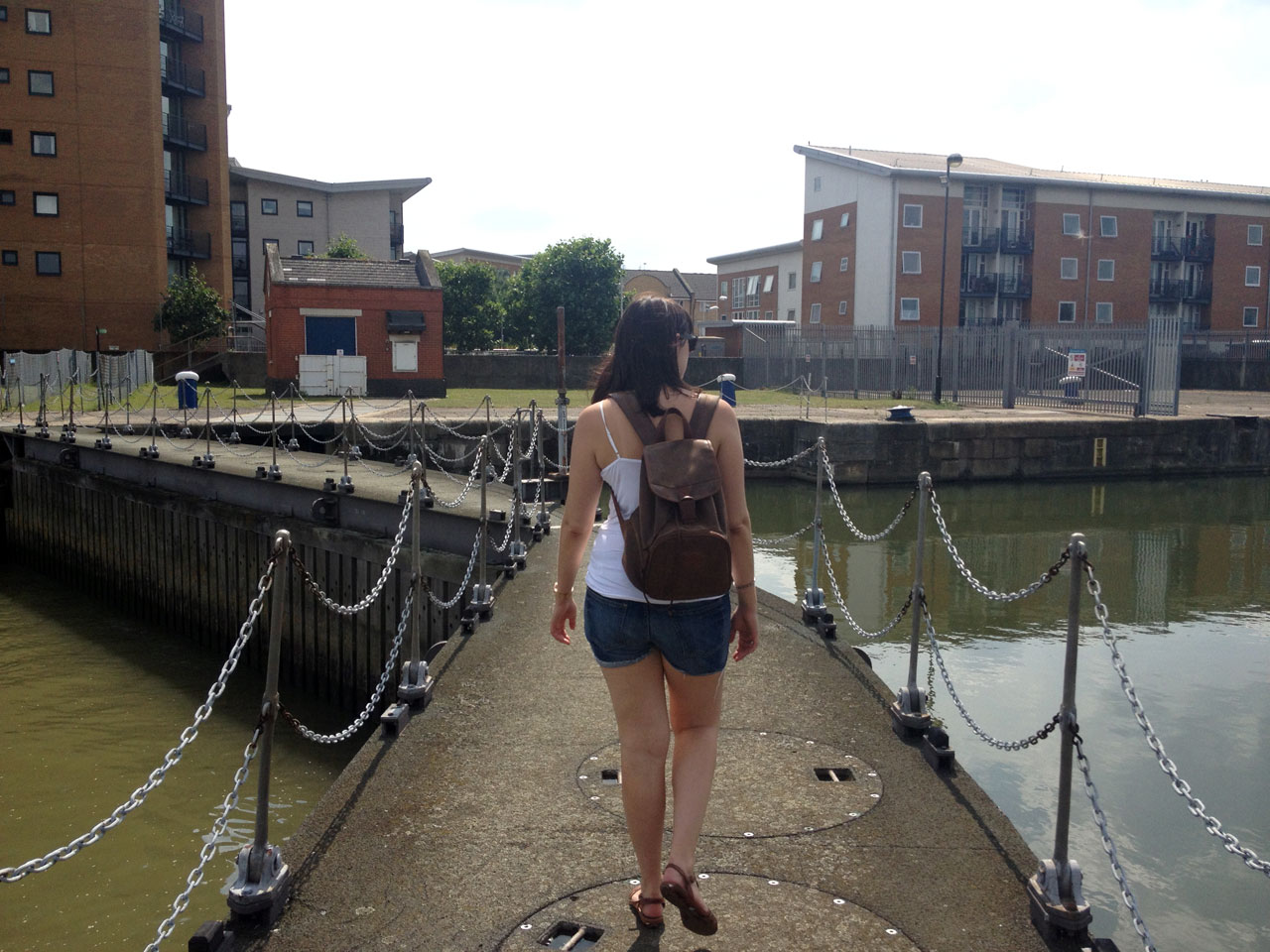 Polly crossing the lock gates at Gallions Reach, London