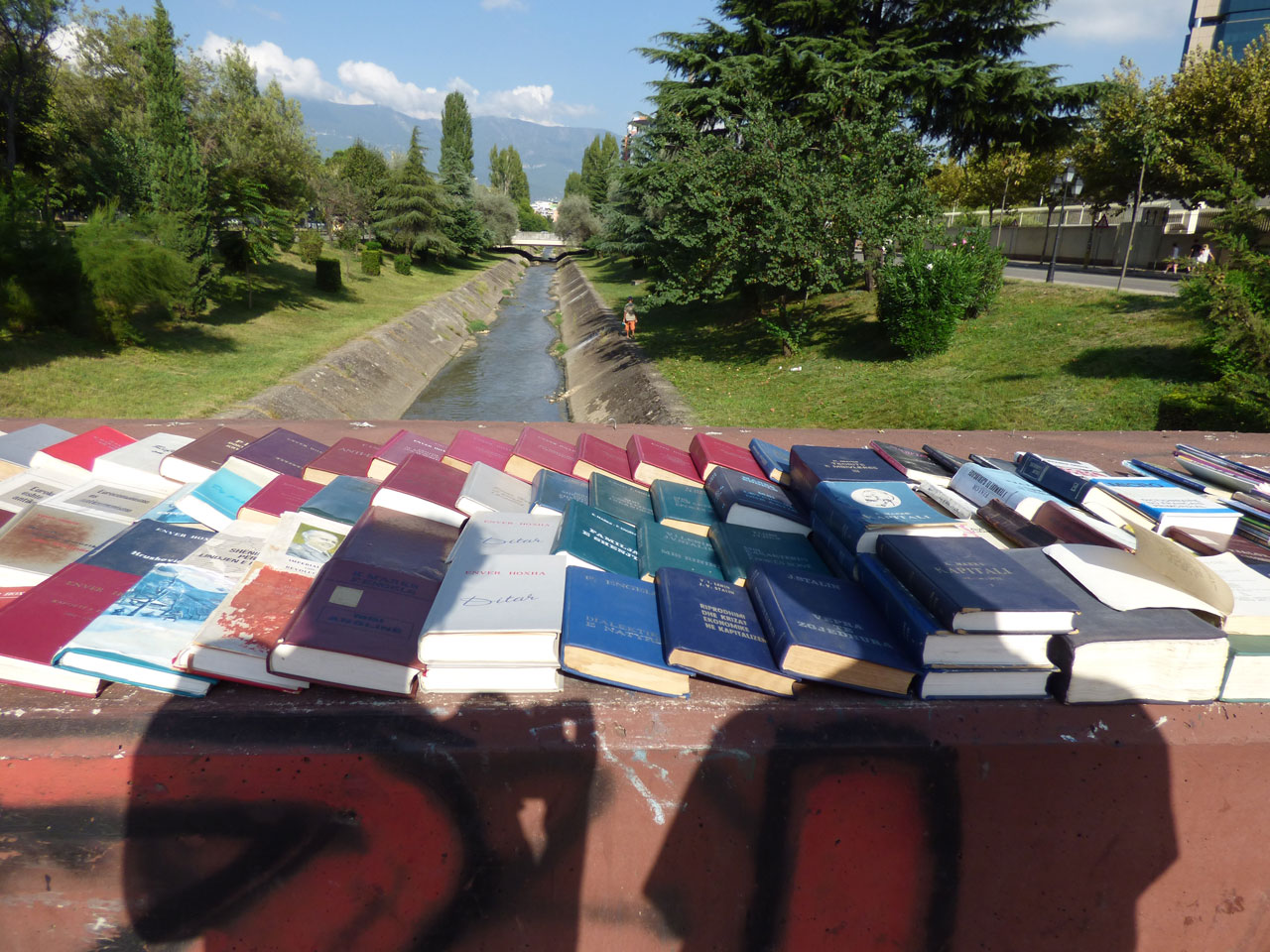 Marxist literature on sale by the Lana River, Tirana, Albania