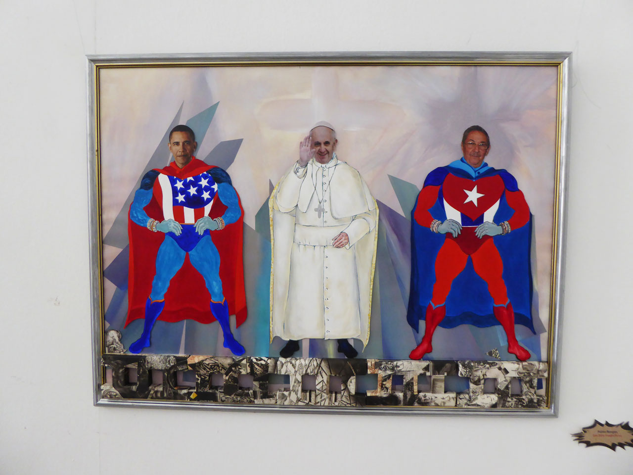 Art depicting Obama, the Pope and Raúl Castro at the Taller Experimental de Gráfica, Havana