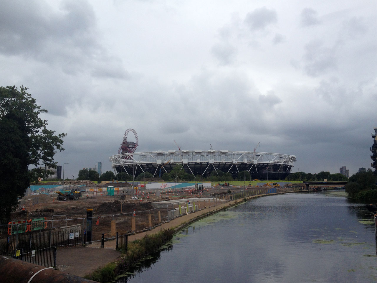 View of the Olympic Stadium from White Post Lane, London