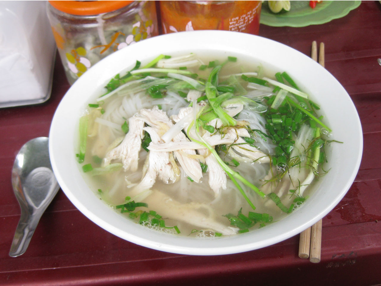 A bowl of delicious pho in Hanoi's Old Quarter, Vietnam