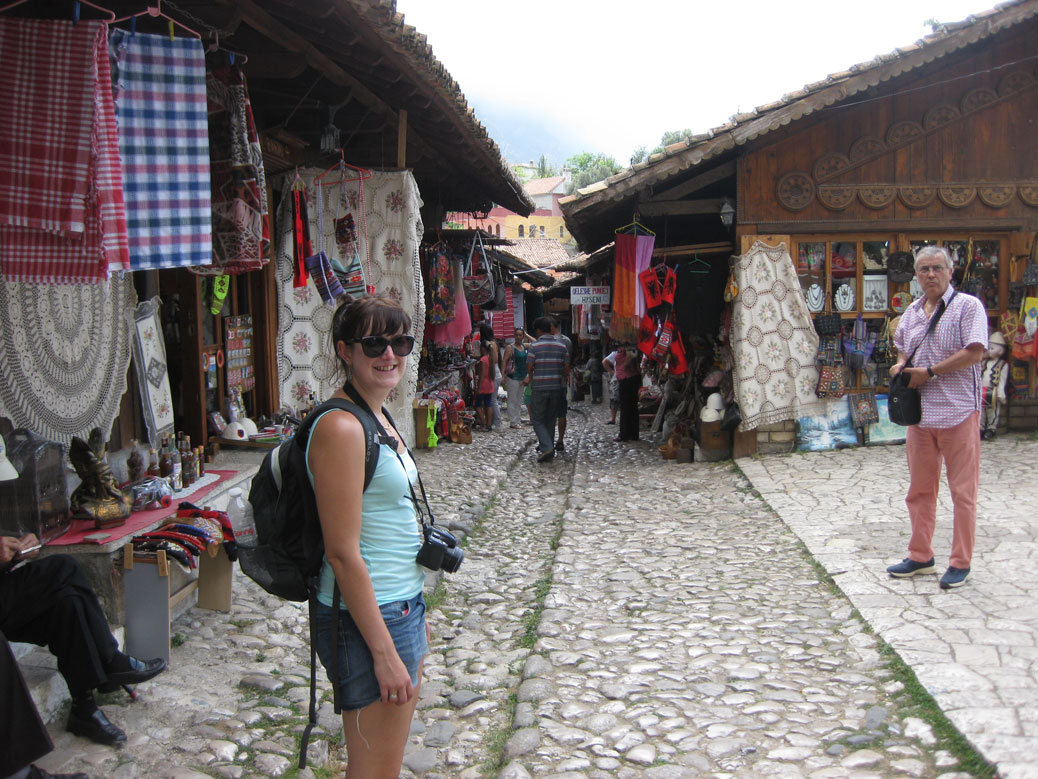 Polly looking like a tourist in the bazaar, Krujë