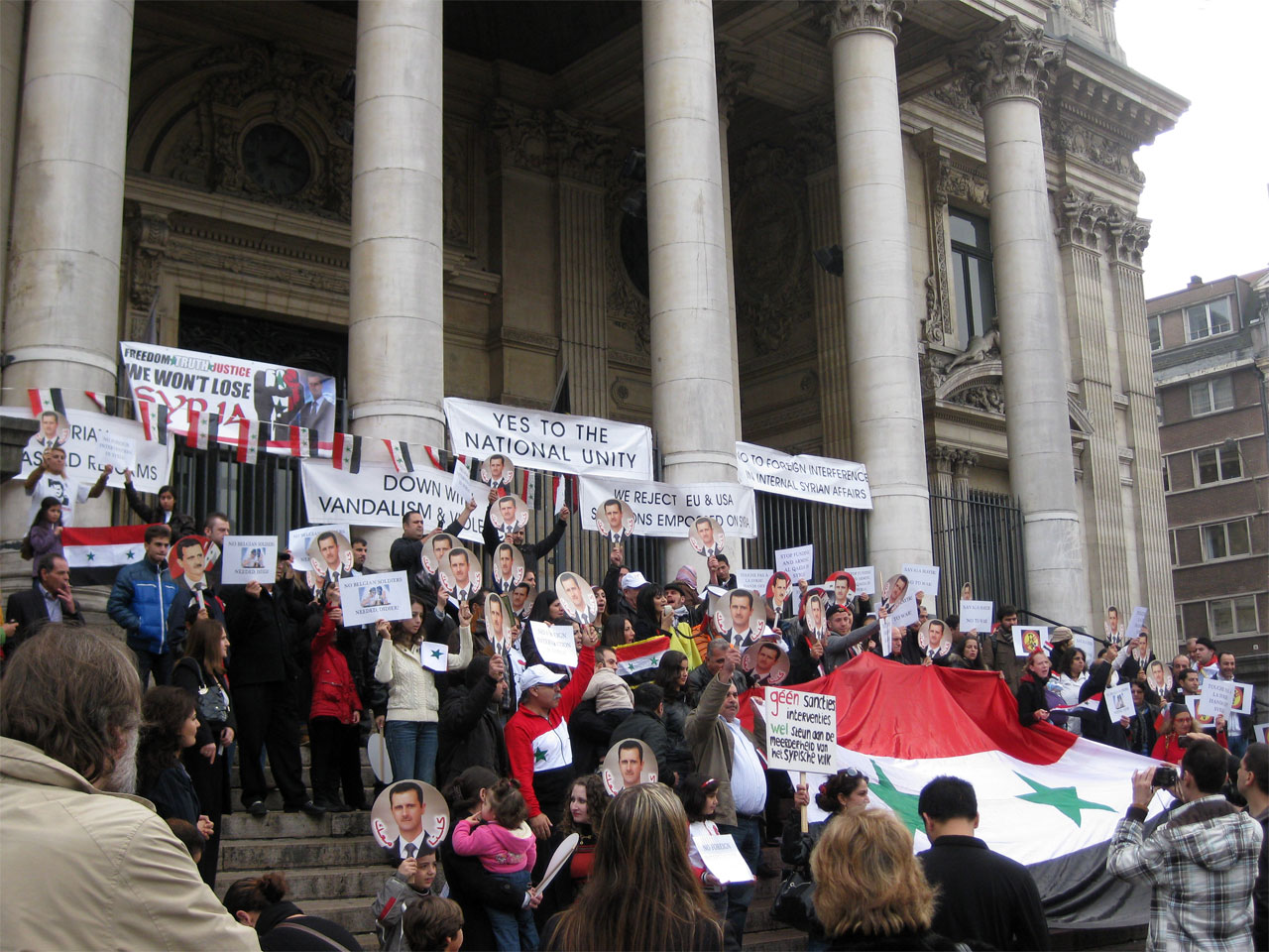 Pro-Assad demonstration, Brussels, Belgium