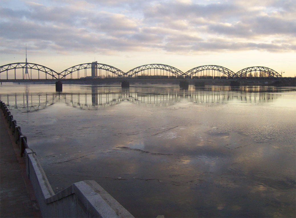 Ice on the Daugava river, Riga, Latvia