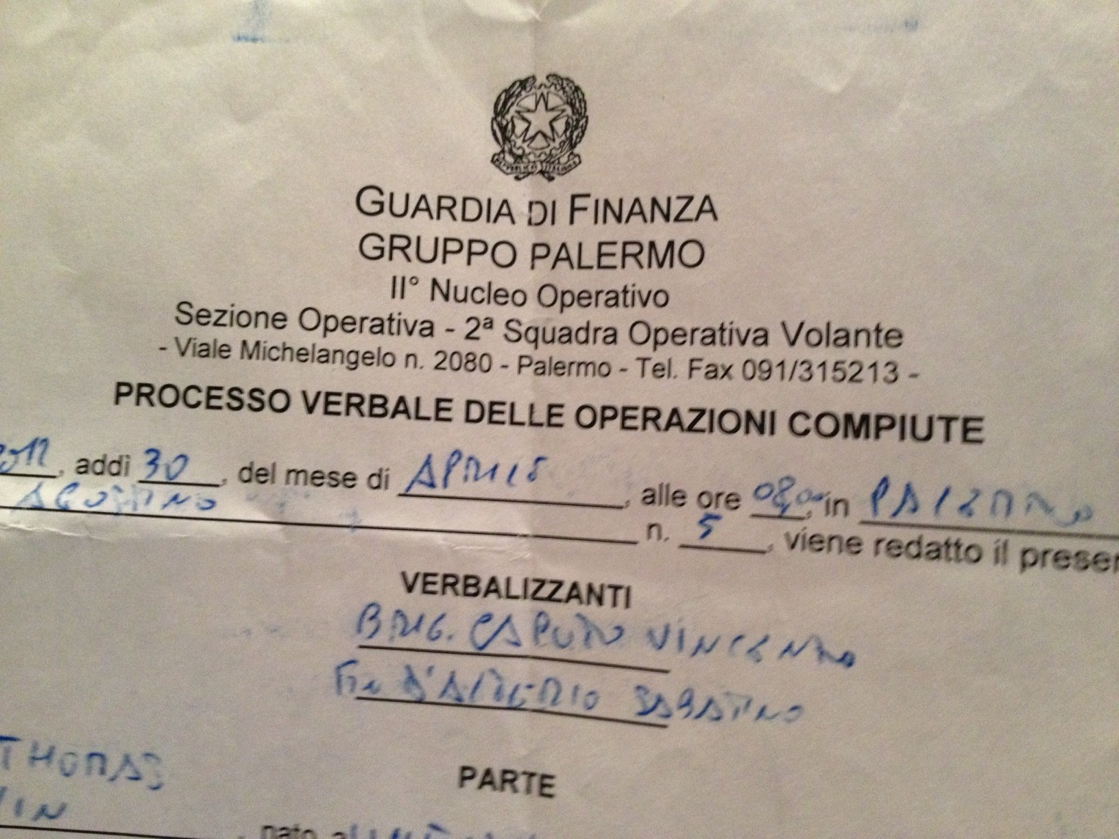 My statement to the Guarda di Finanza, Palermo, Sicily