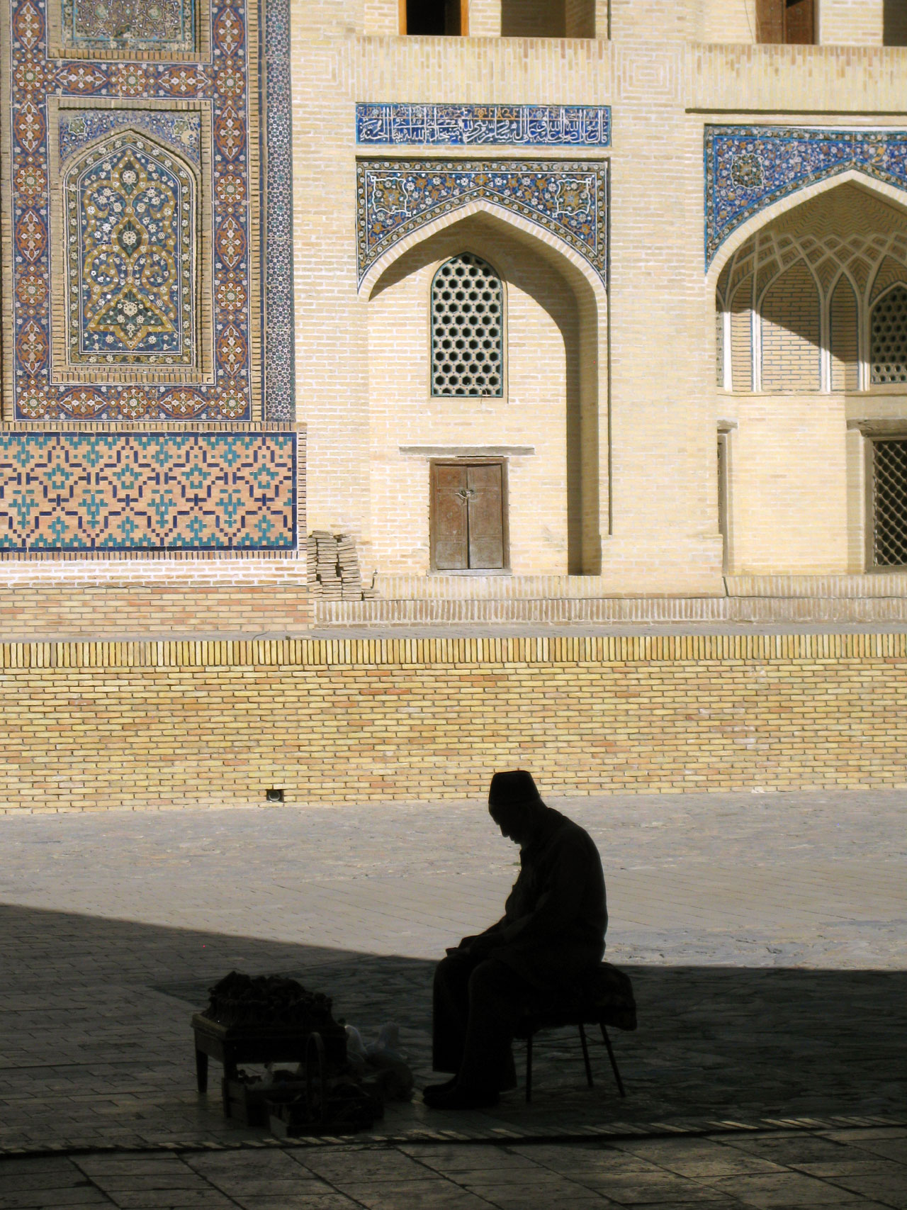 Tajik man outside Kalon Mosque, Bukhara