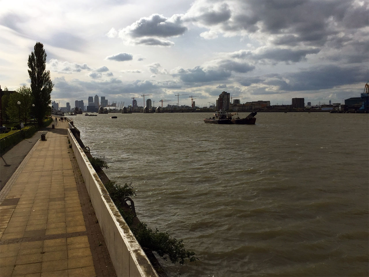 The Thames Barrier and Canary Wharf, London