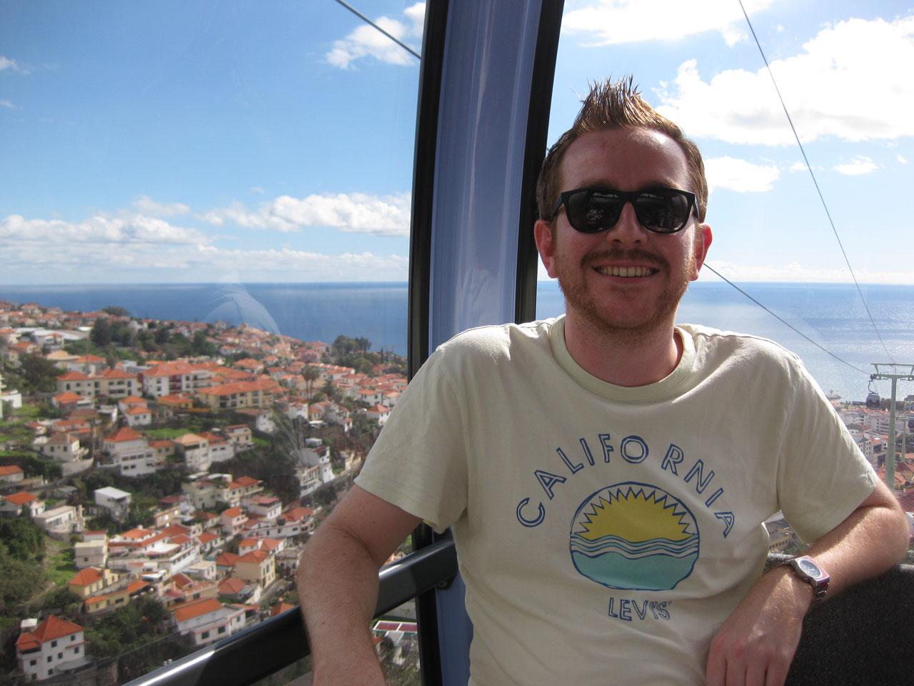Me riding the cable car up to Monte, Madeira