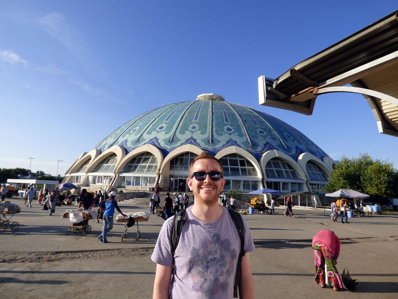 Me outside Chorsu Bazaar, Tashkent