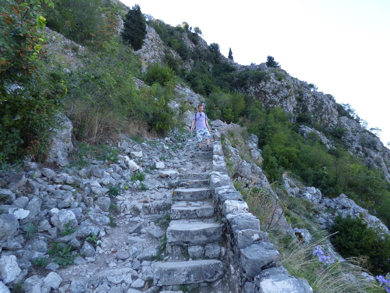Making my way back down the city walls, Kotor, Montenegro