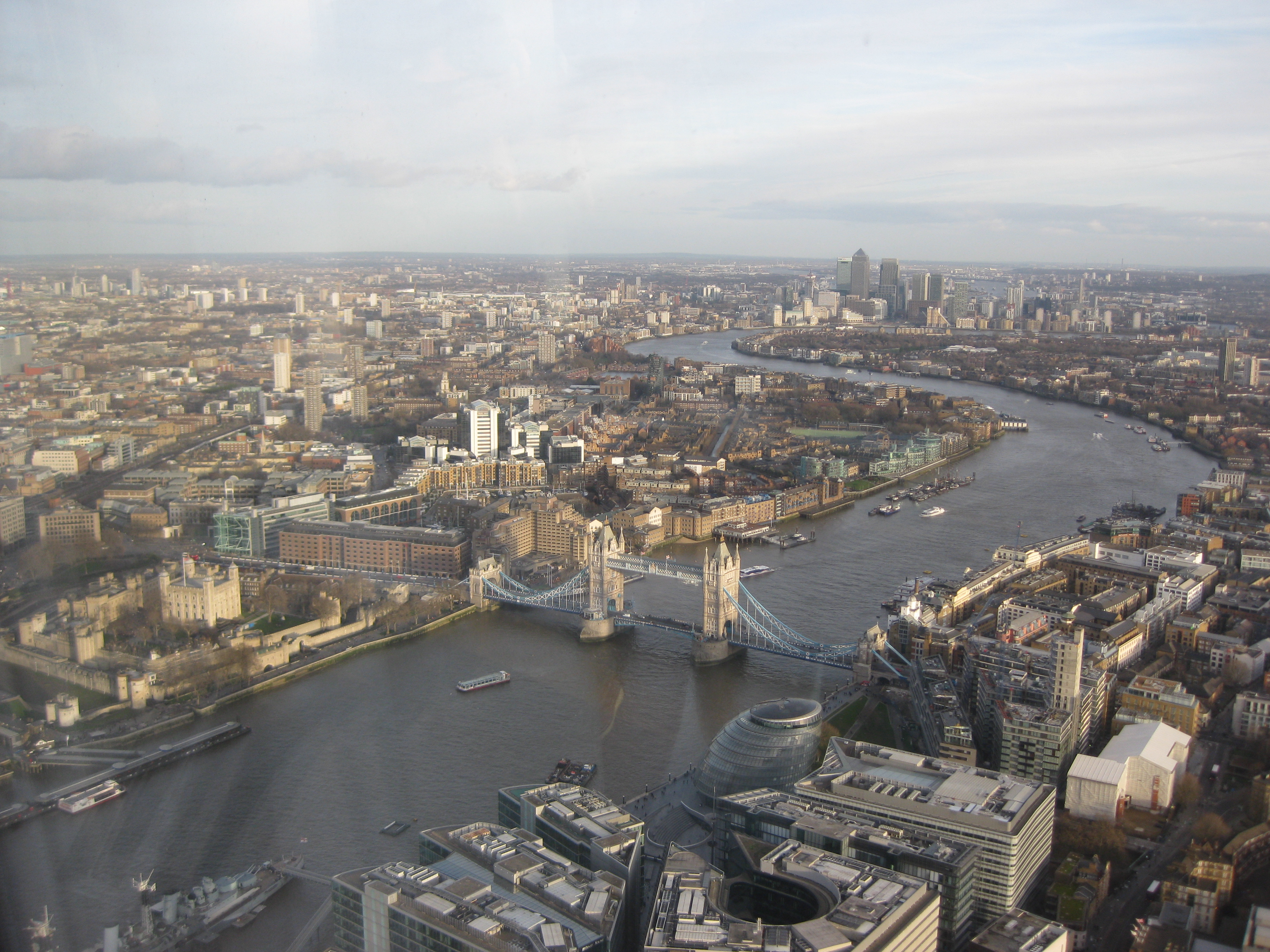 The view to the east: Tower Bridge and Canary Wharf, London