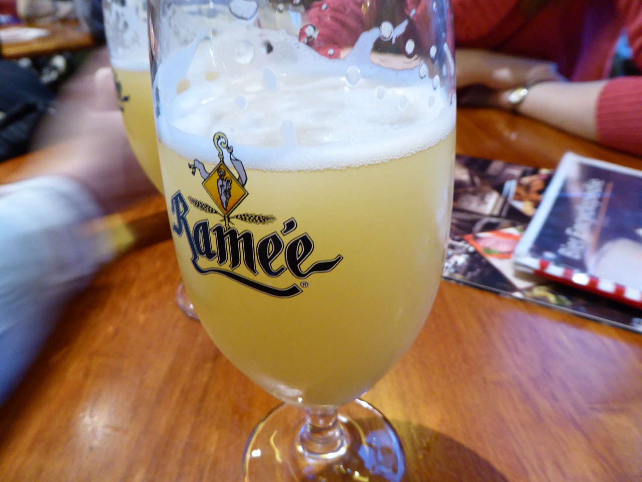 Drinking Belgian wheat beer at Bier Central, Antwerp