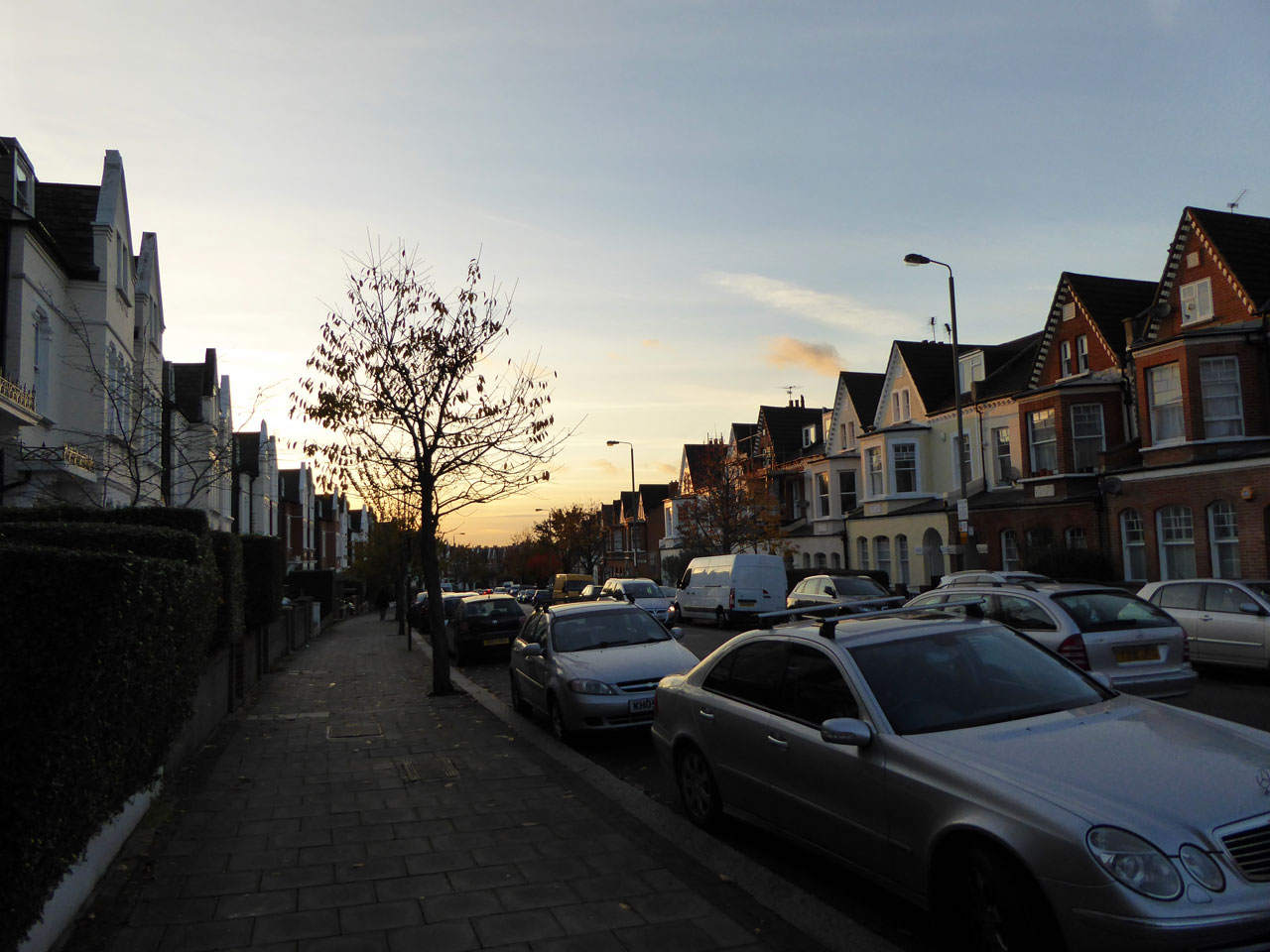 Sunset over Ritherdon Road in Balham, London