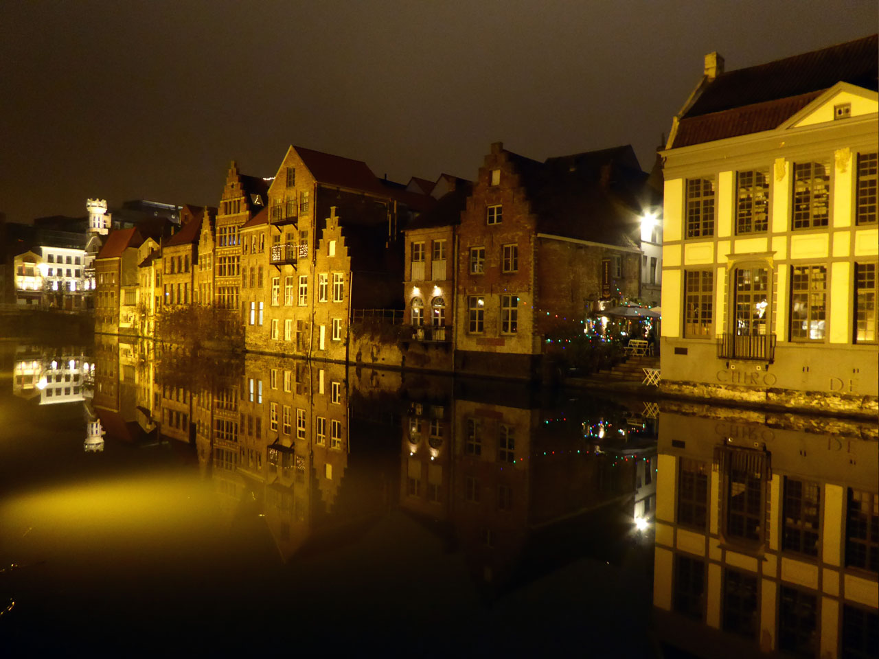 River Leie at night, Ghent