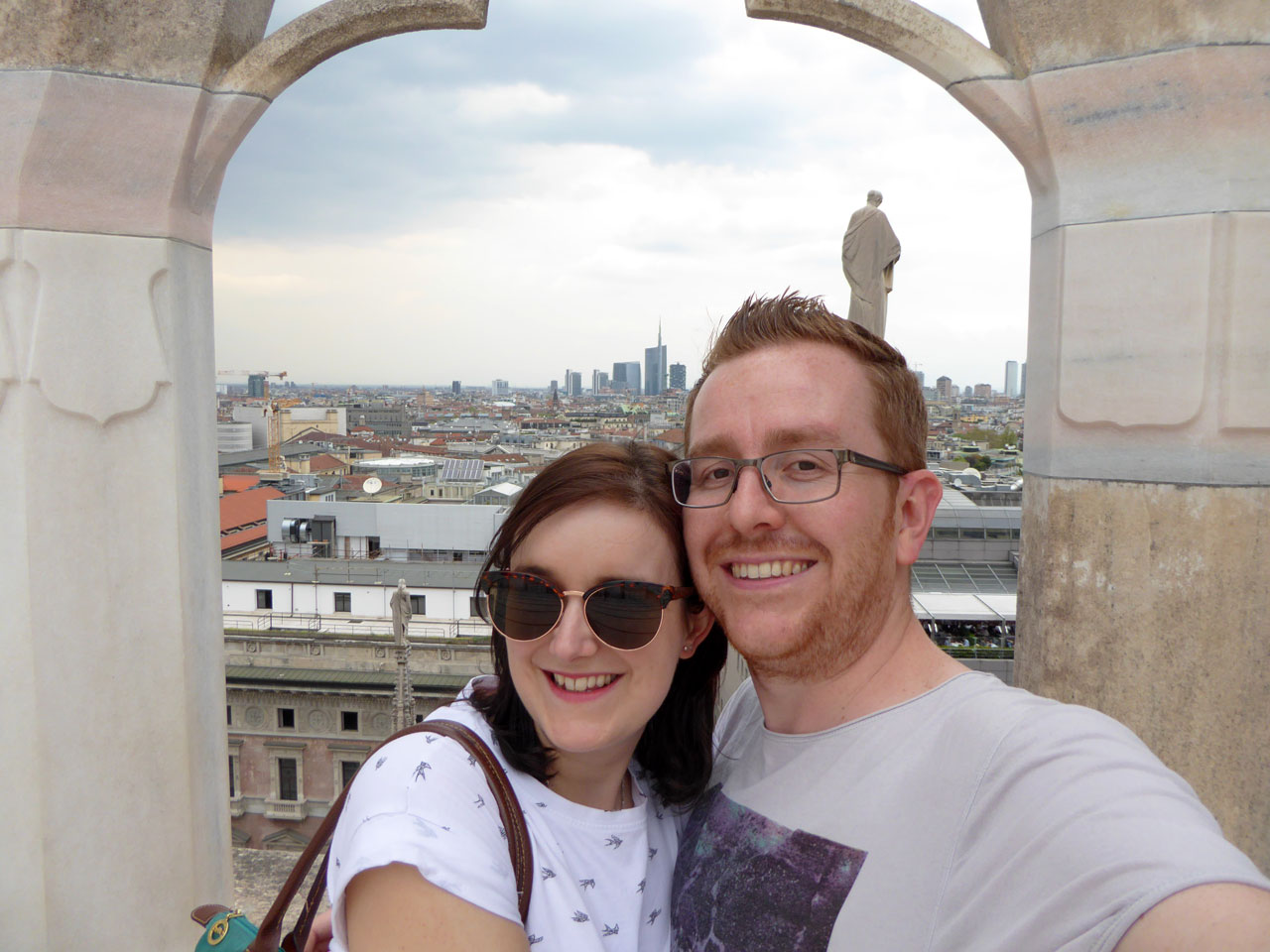 Me and Polly on the rooftop of the Duomo, Milan