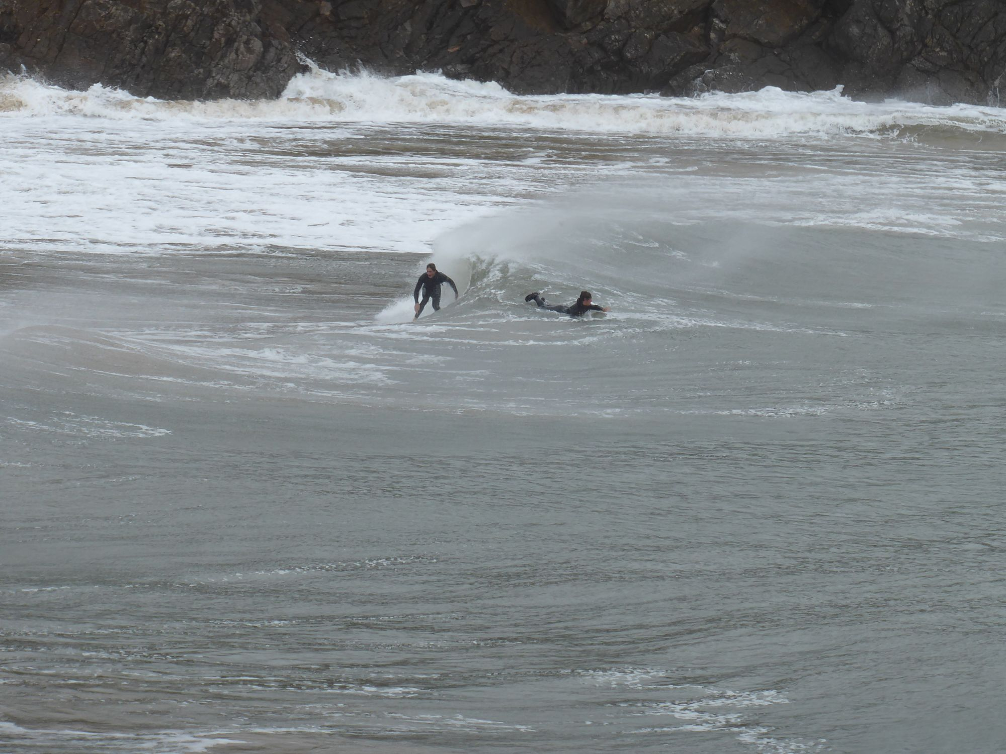 Surfers at Barafundle Bay